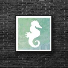 Silhouette Seahorse Beach Art Green Blue Watercolor Counted Cross Stitch Pattern