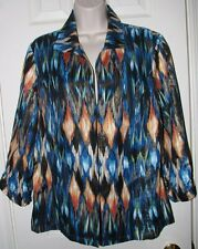 CHICO'S MultiColored 3/4 Sleeve Linen Blend JACKET Blazer Size 2 (12/14)