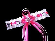 Sexy HELLO KITTY Satin Wedding GARTER Bridal PROM White Pink Hearts Rhinestones