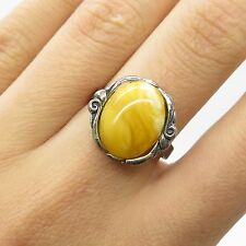 Signed Vtg 925 Sterling Silver Real White Amber Gemstone Ring Size 6.5