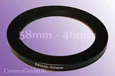 58mm to 46mm Male-Female Stepping Step Down Filter Ring Adapter 58mm-46mm UK
