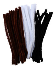 15mm Extra Fluffy Pipe Cleaners Pack Of 45 Brown White Black 30cm Arts And Craft