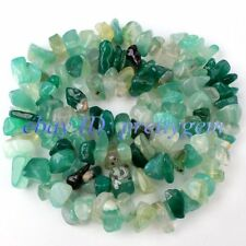 "5-8MM FREEFORM GREEN AGATE CHIPS GEMSTONE BEADS STRAND 16"" DIY JEWELRY MAKING"