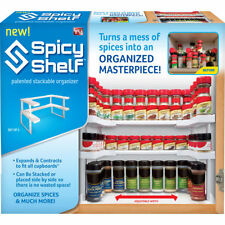 Kitchen Shelf Spice Rack Stackable Organizer Storage Cabinet Cupboard Jar Wall