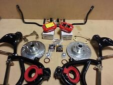 1955-57 CHEVY DISC BRAKE KIT RED WILWOOD CALIPERS + SWAY BAR + TUBULAR A ARMS