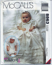 8863 McCall's Pattern Baby Christening Baptismal Gown Romper Size NB S M L Uncut