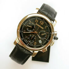 NEW $295 GENTS WENGER 43MM BLACK/ROSE GOLD URBAN CLASSIC CHRON WATCH #1043.107