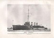 1918 WW1 WORLD WAR I PRINT ~ H.M.S AMPHION
