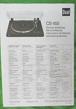 DUAL TURNTABLE CS 455 SERVICE MANUAL ORIGINAL- NOT A COPY FOR DUAL MODEL CS 455