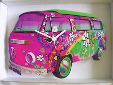 PINK LOVE & PEACE Design Retrò Classico VW Camper Van Wall clock. NEW & BOXED