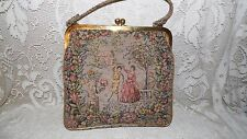 VINTAGE JR TAPESTRY COURTING COUPLE DANCING/FLORAL DESIGN HANDBAG