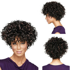 Fashion Women Curly Full Lace Hair Wigs Brazilian Frontal Short Wig Dark Brown