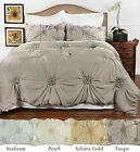 Hand Tufted Peony style comforter set with 2 pillow shams - 4 colors - 2 sizes