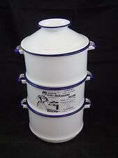 Country Vintage Farmhouse Chic COFFEE TEA SUGAR White Blue Enamelware Canisters