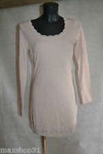 ROBE TUNIQUE CREAM TAILLE L/40 STRECH KLEID/DRESS/VESTIDO/ABITO DENTELLE NEUF