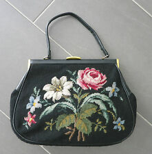 GOBELIN HANDTASCHE ALT_XL_BLUMEN_HUGE VINTAGE HANDBAG NEEDLEPOINT & LEATHER