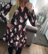 Womens Christmas Xmas Santa Snowman Elk Printed Long Sleeve Flared Swing Dress