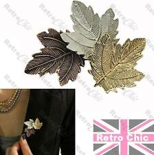 RETRO VINTAGE style LEAF BROOCH antique GOLD/BRONZE/SILVER fashion LAPEL PIN