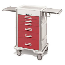 "Steel Procedure Cart 6 Aluminum drawers Push button lock 47.25""H Cranberry"
