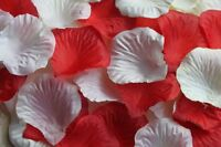 100 x IVORY AND RED SILK ROSE PETALS WEDDING CONFETTI TABLE DECORATION
