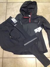 NWT WOMENS OASICS GRAY HOODIE AND WORKOUT SWEATS RETAILS $130.00 Dri-fit Reflec
