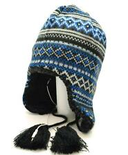 Winter Urban Pipeline Black Blue Earflap Beanie Headphones Stripes Peruvian 7885