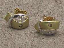 9 Carato 9k Oro Giallo e Bianco Set Di Diamanti Fancy POST & Orecchini a Farfalla