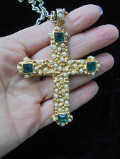 Gerald Yosca Large Gold Cross With Chain Link Necklcae  ~Faux pearls/Emeralds