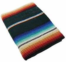 Hunter Green Sarape Throw Yoga Mat Old El Paso Saltillo Blanket Cover Heavy Rug
