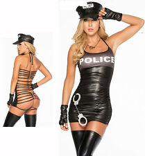 Hot Sexy Womens Lingerie Police Dress Cop Uniform PVC Leather Cosplay Costume XL