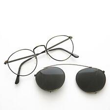 Round Eyeglass Frame w/ Clip-On Aviator Vintage Sunglass NOS Bronze-TOLKIEN