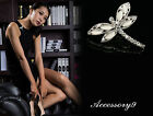 Clear crystal White Cat's Eye Beads silver plated dragonfly Brooch pin clip D35