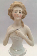 Large Antique German Porcelain Half Doll Lady in Corset -  Marked Germany