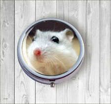 MOUSE WHITE  & RED NOSE PILL BOX ROUND METAL -fbg6Z