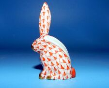 FABULOUS HEREND HAND PAINTED HUNGARY RUST FISHNET BUNNY RABBIT FIGURINE MINI
