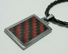 Men Tungsten Carbon Fiber inlay Pendant & 3mm Black Leather cord Necklace 20""