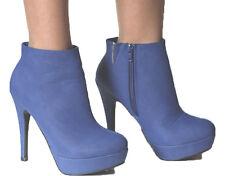 High Heel Plateau Ankle Stiefeletten Boots blau Gr. 37 (K648)