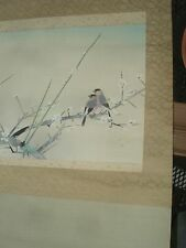 Antique Japanese watercolor scroll painting Two Birds & Wooden Box