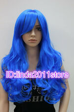 NEW Women Girl Bright Red/Blue/Rose Red long curly cosplay full wigs+wig cap