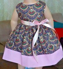 "Doll Clothes-Handmade-American Girl Dolls-Fits 18""-Paisley & Pink Dress."