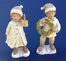 Lot 2 Grandes Figurines / Statuettes - Enfants de Noël / Christmas Children