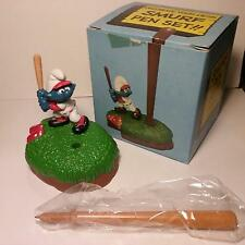 Smurf - Baseball Desk Pen Holder Set - Vintage 1982 - MINT IN BOX