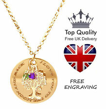 Family Tree of Life Pendant Personalised Engraved Name Necklace Gold Plated UK