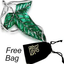 The Lord of Rings Elven Brooch Fellowship Green Leaf Necklace Pin Badges w/ Bag