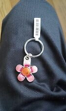 Beautiful Sterling SILVER Flower Shaped Metal Keyring NEW