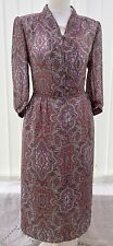 Vintage Day Dress 12 Paisley Brown Multi Tea Work Floral Chiffon 30s 40s 80s