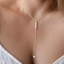 FD2637 Elegant Golden Plated Geometric Arrow Drop Cross Necklace Pendant Jewelry