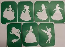 Pack of 7 Princesses-2  Princess Vinyl Glass etching,Glitter Glass Stencils,