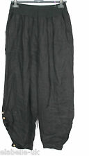 NEW LADIES ITALIAN PLUS SIZE LAGENLOOK 2 POCKET BOHO LINEN PANTS BAGGY TROUSERS