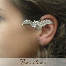 JoliKo Ohrring ohne Ohrloch Ear cuff  Kristall Halloween Bat Fledermaus LINKS